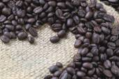 Coffee beans placed on bag sack. — Stock Photo