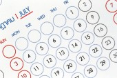 Text on calendar show in monthly. — Stock Photo