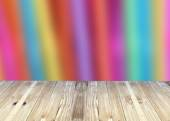 Broad planks and color rainbow bright of blur background. — Stock Photo