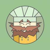 Flat vector icon of cute smiling chef from triangles with mustaches — Διανυσματικό Αρχείο