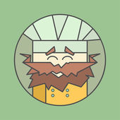 Flat vector icon of cute smiling chef from triangles with mustaches — Stock vektor