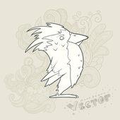 Illustratie hand getekend vector retro cartoon vogel met abstract floral achtergrond — Stockvector