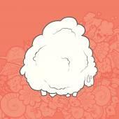 Vector Illustration Cute Hand Drawn Sheep. Greeting card New Year. — Stock Vector