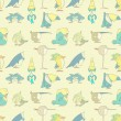 Birds Seamless Background pattern for design and scrapbook in vector — Stock Vector #74907015