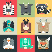 Set flat square icons of a cute animals — Stock Vector