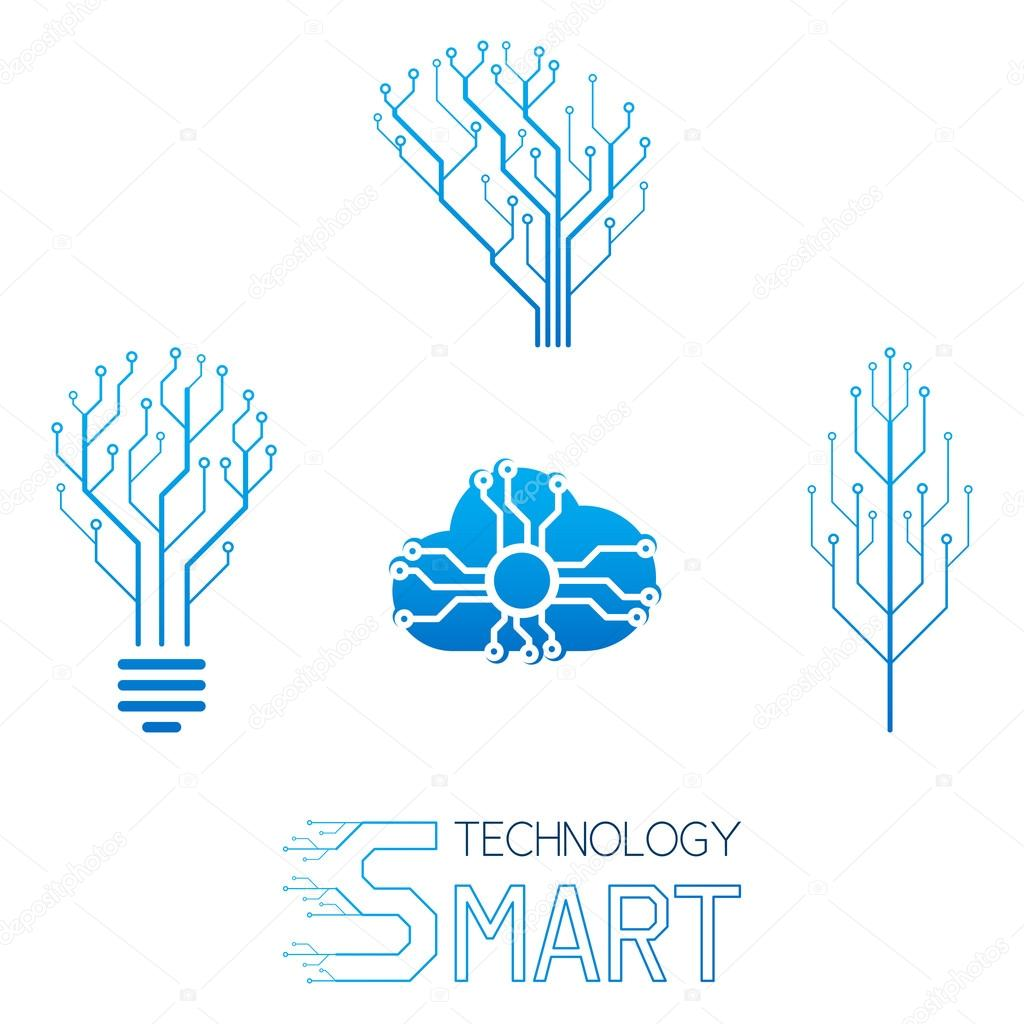 set of logo of information technology � stock vector