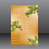 Christmas flyer with with Christmas tree and Christmas toys — Vecteur