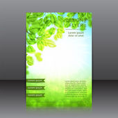 Vector design of the flyer with leaves and sun — Stock Vector
