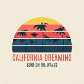 California surf illustration typography — Stock Vector