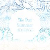 Sfondo estate con conchiglie e stelle marine — Vettoriale Stock