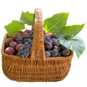 Basket with fresh plums and grapes. — Stock Photo