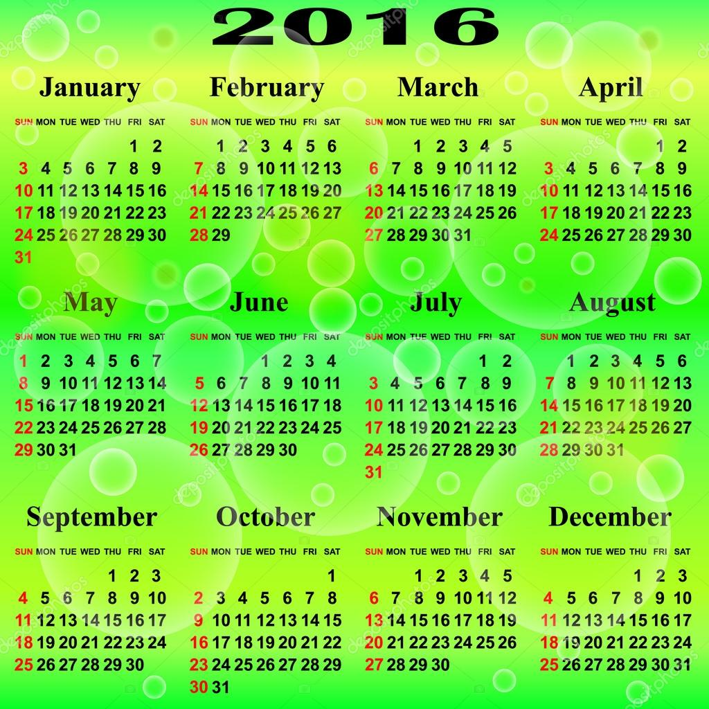 Calendar for 2016 year. — Stock Vector © liluly332201 #58715099