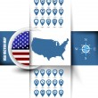 USA map contour with GPS icons and rounded USA flag — Stock Vector #58899985