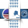U.S. state of Alaska map contours with GPS icons, USA flag icon — Stock Vector #58899991