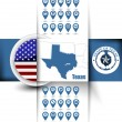 U.S. state of Texas map contours with GPS icons, USA flag icon a — Stock Vector #58899999