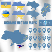 Ukraine map set with gps and flag icons — Stock Vector