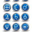 ������, ������: Set of rounded icons for the planets sun and moon with Venus M
