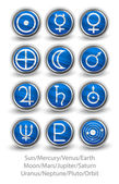 Set of rounded icons for the planets, sun and moon with Venus, M — Stock Vector