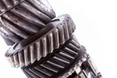 Very old dusted and rusted machine cogwheels closeup isolated on — Stock Photo