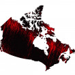 Black and red scribble stylized map of Canada.Raster version — Stock Photo #68483295