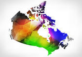 Rainbow color map of Canada with geometric triangle design. Rast — Stock Photo