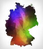 Rainbow color map of Germany with geometric triangle design. Ras — Stock Photo