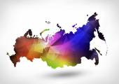 Rainbow color map of the Russian Federation with geometric trian — Stock Photo