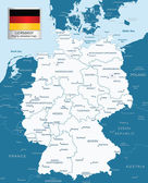 Highly detailed map of Germany with administrative divisions and — Stock Vector