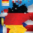 Germany flag on world map — Vecteur #72752139