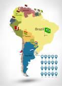 Politieke kaart van Zuid-Amerika — Stockvector