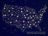 Glowing USA map on starry sky. — Stock Vector