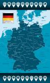 Germany map with administrative divisions and cities. — Stock Vector