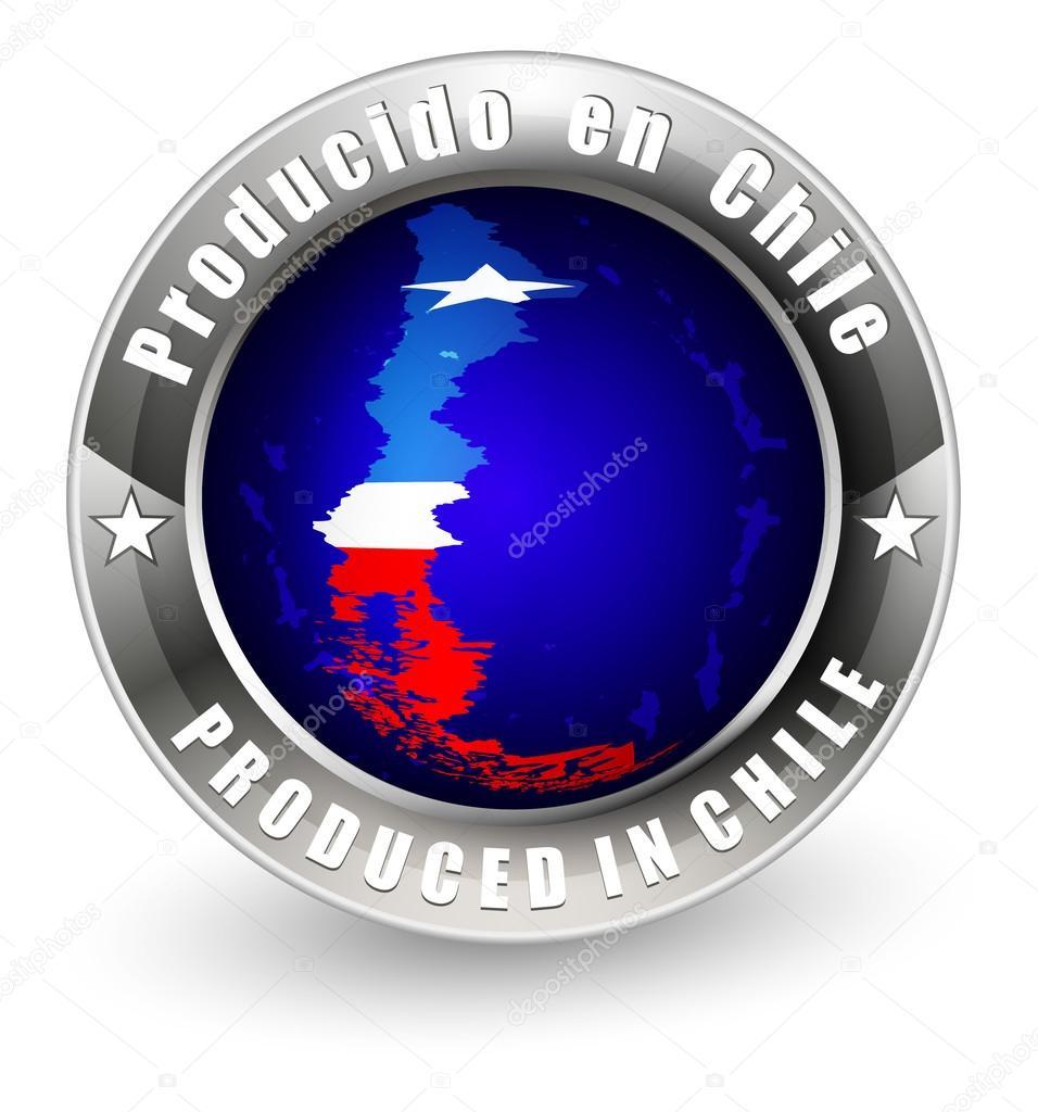 在智利标签与智利地图生产.矢量图标– 图库插图