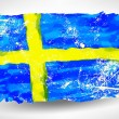 Bright hand drawn watercolor Sweden flag with grunge effect — Stock Vector #75903081