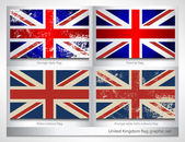 United Kingdom flag graphic set — Stock Vector