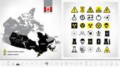 Nuclear power plants map of Canada — Stock Vector