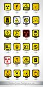 Nuclear Power Plant pin icon set — Stock Vector