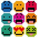 Set Of Different Cartoon Pixel Faces — Stock Vector #62547415