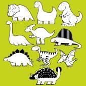 Conjunto de dinossauros diferentes bonito dos desenhos animados — Vetor de Stock