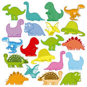 Set Of Different Cute Cartoon Dinosaurs — Stock Vector