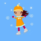 Little Girl With Skates — Stock Vector