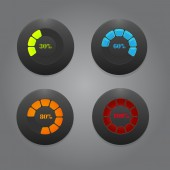 Black Buttons With Color Bars — Stockvector
