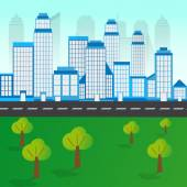 City Landscape With Tree and Road — Stock Vector
