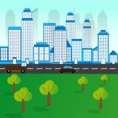 City Landscape With Trees and Road and Cars — Stock Vector