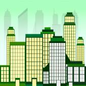 City Landscape With Green Skyscrapers — Stock Vector