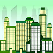 城市景观与绿色摩天大楼 — 图库矢量图片