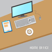 Flat Home Office With Contract and Computer — Stock Vector