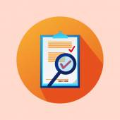 Orange Circle Flat Contract Icon With Check — Stock Vector