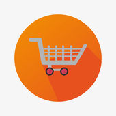 Flat Icon With Shopping Cart For Commerce In a Orange Circle With Long Shadow — Stock Vector
