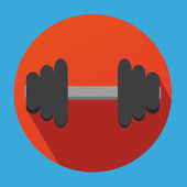 Fitness Dumbbell Flat Shadow Design With Orange Circle — Stockvektor